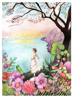 """""""Kindred Spirit"""" -- Woman by the Lake Watercolor painting by Heatherlee Chan 