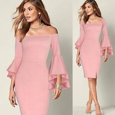 Vfemage Elegant Flare Trumpet Sleeve Sexy Off Shoulder Front Slit Sheath Slim Casual Party Club Bodycon Dress