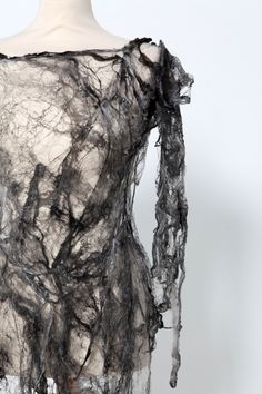 Grey Silk Fibre Dress - creative textiles surface design exploring the idea of impermanence - textiles for fashion // Shirley Buchan. So Miss Havisham. A Level Textiles, Textile Fabrics, Nachhaltiges Design, Detail Design, Creative Textiles, Textiles Techniques, Oldschool, Fashion Art, Fashion Design