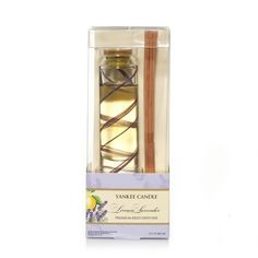 Lemon Lavender Yankee Candle Premium Reed Diffuser by Yankee Candle. $21.99. Clean and inviting . . . a powdery fresh blend of tangy lemon citrus and sweet lavender flowers.. 3 FL OZ (88.7mL). Fill any room with long-lasting fragrance!. Look for Yankee Candle Reed Refills.. True-to-life fragrance. Fill any room with long-lasting fragrance! Yankee Candle Premium Reed Diffusers have the same long-lasting, true-to-life fragrance that you love in our candles. These diffusers are pe...