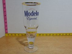 Six Modelo Cerveza Especial 16 Oz Beer Pilsner Glass NOS Custom Glass Gold Rim Rim, Custom Glass, Dish Sets, Glass Collection, Beer, Crystals, Tableware, Gold, Templates
