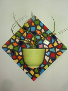 Fiestaware Mosaic Chartreuse Vase wall hanging 3d art yoga zen on Etsy, $110.00 Teacup Mosaic, Mosaic Pots, Mosaic Wall Art, Mosaic Diy, Mosaic Garden, Mosaic Glass, Mosaic Tiles, Mosaic Mirrors, Stained Glass Birds