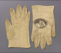 Pair of men's gloves, late 18th century. Soft white leather printed with stripes of gray, and oval medallion on back of each hand (couple embracing) printed in black.