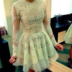 Short White Lace Long Sleeves Prom Dresses 2014 [white lace prom... ❤ liked on Polyvore featuring dresses, vestidos, lacy white dress, white longsleeve dress, long sleeve dresses, white lace dress and short prom dresses