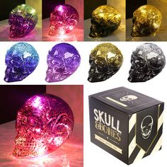 Decorative LED Light - Small Two Tone Metallic Skull  Add colour and style to your home with our range of LED lights and strings.  Complete with LED lights that require 3 LR44 batteries (included), these decorations are perfect for adding that magical touch to your home, garden or special event.