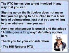 A fun way to recruit volunteers for your PTO or PTA! Delete the Uncle Sam pic Pta School, School Fundraisers, School Ideas, School Events, School Projects, School Stuff, Pto Membership, Pto Meeting, Parent Volunteers