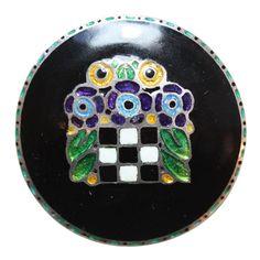 THEODOR FAHRNER Enamel Silver Flower Basket Brooch | 1stdibs.com