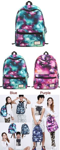 Blue or Purple? I like this galaxy backpack so much. #Shining #Cool #Galaxy #Travelling #College #Backpacks #school #bag #women #girl #schoolbag