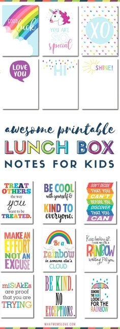 Printable Lunch Notes For Kids | Pop these funny jokes and encouragement for girls and boys in their lunch box! Many are free printables!