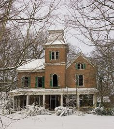 old abandoned mansion in winter