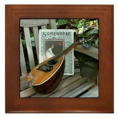 Roundback Mandolin (Mandola) Somewhere On The Park Bench Framed Tile ($9.99)