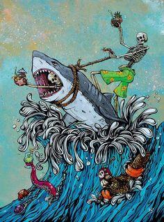 Arte Dope, Dope Art, Art And Illustration, Graffiti, Fantasy Kunst, Fantasy Art, Dope Kunst, Shark Art, Skeleton Art