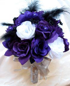 Dark Purple Wedding Flowers | Details about Wedding Bouquet Bridal Silk flowers PURPLE WHITE SILVER ...