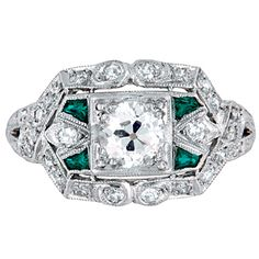 antique engagement ring, diamond and emerald
