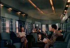 The elegant Amtrak lounge car in which Cornel Wilde meets the dangerous Gene Tierney in Leave Her to Heaven...