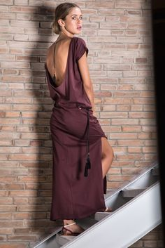 long dress purple low cut back chain leather pompom boheme chic Karma Koma