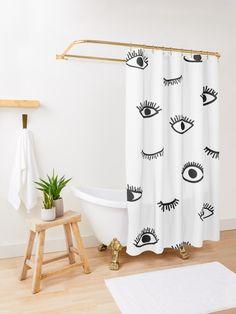 Gothic Bathroom Decor, Boho Bathroom, Bathroom Ideas, Custom Shower Curtains, Shower Curtain Sets, Bathroom Shower Curtains, Black And White Master Bathroom, White Bathroom, Bohemian Shower Curtain