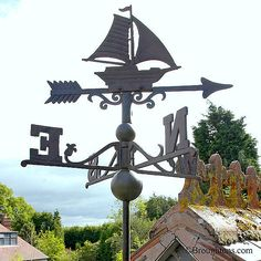 Sail Boat Cast Iron Weather Vane Large Black