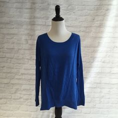 Michael Kors cobalt blue sweater Pre loved and has pilling. Has a lined design on front Michael Kors Sweaters Crew & Scoop Necks