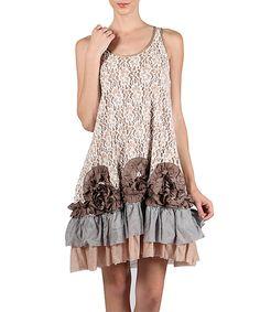 Taupe Lace Ruffle Shift Dress | zulily