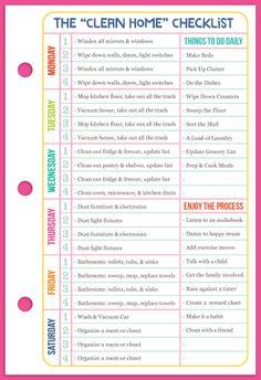 """Sección: Gestión del Tiempo - La lista de verificación """"Clean Home"""" (Pequeño: 5.5 """"x8.5"""")"""