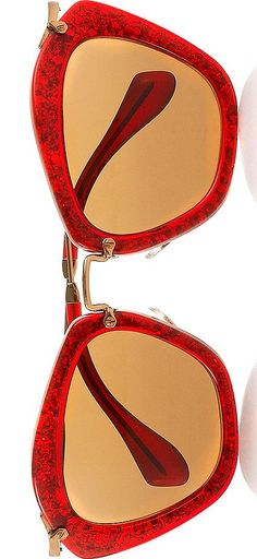Miu Miu Cat eye glittered acetate and metal sunglasses