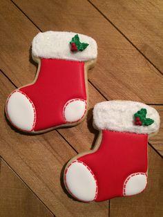 Christmas Stocking Cookies, Christmas Stocking Decorations, Christmas Sugar Cookies, Holiday Cookies, Gingerbread Cookies, Christmas Stockings, Christmas Sock, Cookie Factory, Sugar Cookie Royal Icing
