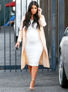Pregnant Kim Kardashian Works Bump in Tight White Dress, Heels - Us Weekly
