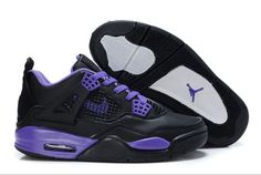 Women Air Jordans 4 Black Purple