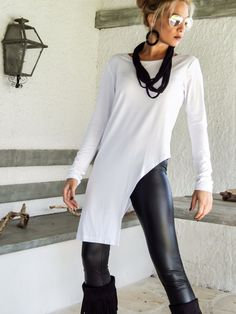 White Asymmetric Top Blouse / White Top Blouse / Asymmetric Plus Size Blouse / #35129   NEW ASYMMETRIC TOPS - BLOUSES 2015 !  They are my