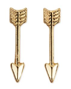 Yellow Golden Mini Arrow Stud Earrings by Jules Smith at Neiman Marcus.