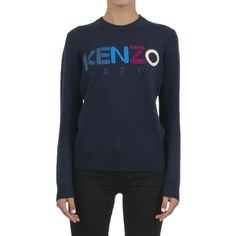 Kenzo Logo Wool Sweater ($310) ❤ liked on Polyvore featuring tops, sweaters, blu, blue sweater, kenzo top, intarsia sweaters, woolen sweater and patch sweater