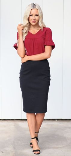 3794408a676a9 31 Best Black pencil skirt outfit images | Black pencil skirt outfit ...