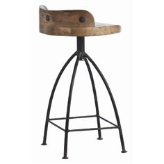 Kitchen Bar Stools - Henson Wood Iron Swivel Stool by Arteriors. Available as a bar stool or counter stool. Rustic Counter Stools, Industrial Bar Stools, Swivel Counter Stools, Kitchen Stools, Vintage Industrial, Wooden Counter, Industrial Loft, Kitchen Island, Barstools Rustic