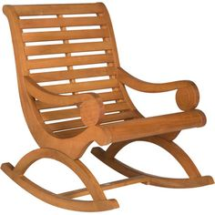 Featuring a gracefully curving design and teak brown finish, this stylish rocking chair offers classic appeal to your porch or veranda.