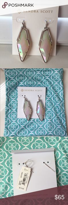 Kendra Scott Bexley Earrings Bexley Earrings in Iridescent White Banded Agate with silver hardware. Beautiful stone and can dress up any color outfit! Brand new with tags still attached. Comes with dustbag and care card. Kendra Scott Jewelry Earrings