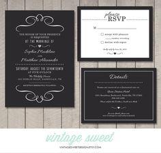 Modern Wedding Invitation RSVP Information by vintagesweetdesign