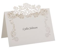 Place Cards | Unique Laser Cut Place Cards | Rose Vine paperorchidstationery.com
