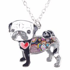 Pug Exclusive Colorful Flora Pattern Necklace