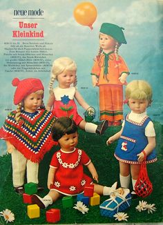 Cute vintage 70s Kruse Dolls in handmade crochet and knitted outfits.