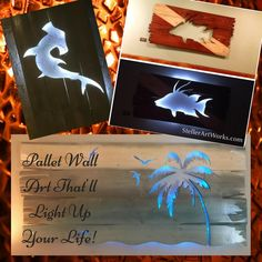 Something's fishy! These LED- Lit Pallet Wood Art Pieces feature scenes from nature, including beach scenes, fish, mermaids, and turtles! Light it up, baby!