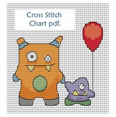 Super cute monster cross stitch pattern, chart download ideal for birthday card or celebration