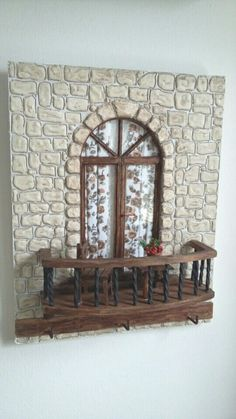 Decoración de... House With Porch, Porch Garden, Miniature Houses, Garden Ideas, Comics, Nativity Scenes, Miniatures, Facades, Puertas