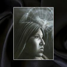 """""""Catching Dreams""""  Artist: Bobby Tribe: Turtle Mountain Chippewa Medium:  Air Brush and Color Pencil Year Created:  2012 Institution:  CRCI #289 Friends of Red Lodge, Native American Prison Art Collection. Native People Series © Copyright R.L.T.S.  One of the old Ojibwa traditions was to hang a dream catcher in their homes. They believe that the night air is filled with dreams both good and bad."""