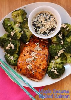 Maple Sesame Glazed Salmon - a sweet and savory Asian-inspired fish recipe that even the non-seafood eaters will love. | cupcakesandkalechips.com | gluten free