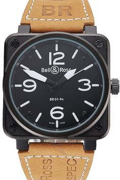 Mens Replica Bell & Ross BR 01-94 Black Dial Ion Plated Case and Bezel Watch with Tan Suede Leather Strap