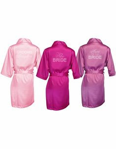 Big Bling Satin Bridal Party Robes with Rhinestones