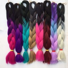 hair treatment on sale at reasonable prices, buy Ombre kanekalon braiding hair two tone kanekalon jumbo braid hair afro kinky braid synthetic hair extensions braids from mobile site on Aliexpress Now! Pelo Kanekalon, Kanekalon Jumbo Braid, Kanekalon Braiding Hair, Jumbo Braids, Afro Kinky Braids, Afro Twist Braid, Braiding Hair Colors, Hair Dye Colors, Mexican Hairstyles