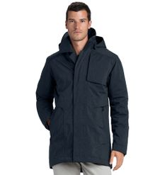Seam-sealed, waterproof trench in recycled poly, organic cotton and 650-fill goose down.