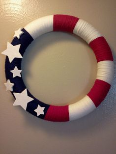 ALL AMERICAN wreath Yarn wreath Red white by FromTheCoast2TheCity, $40.00
